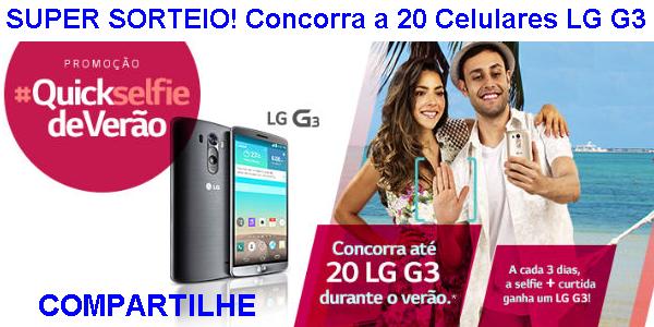 """Promoção """"Quick Selfie de Verão"""" Concorra a 20 Celulares LG G3 Quickselfie de Verão!"""