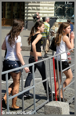 Girls in shorts on the street