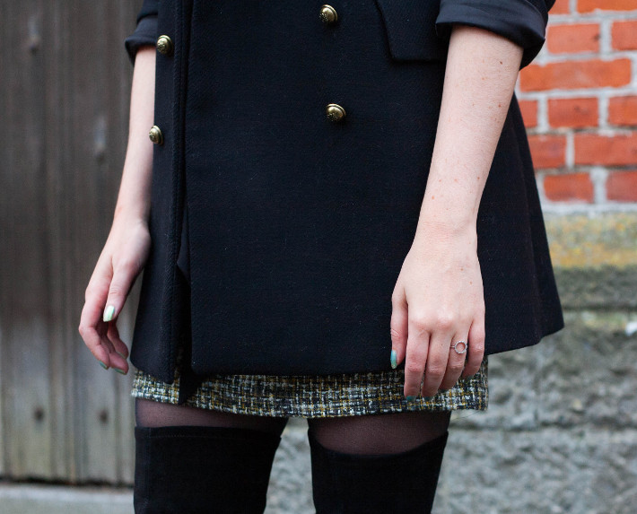 outfit: military coat, tweed skirt, thigh high boots