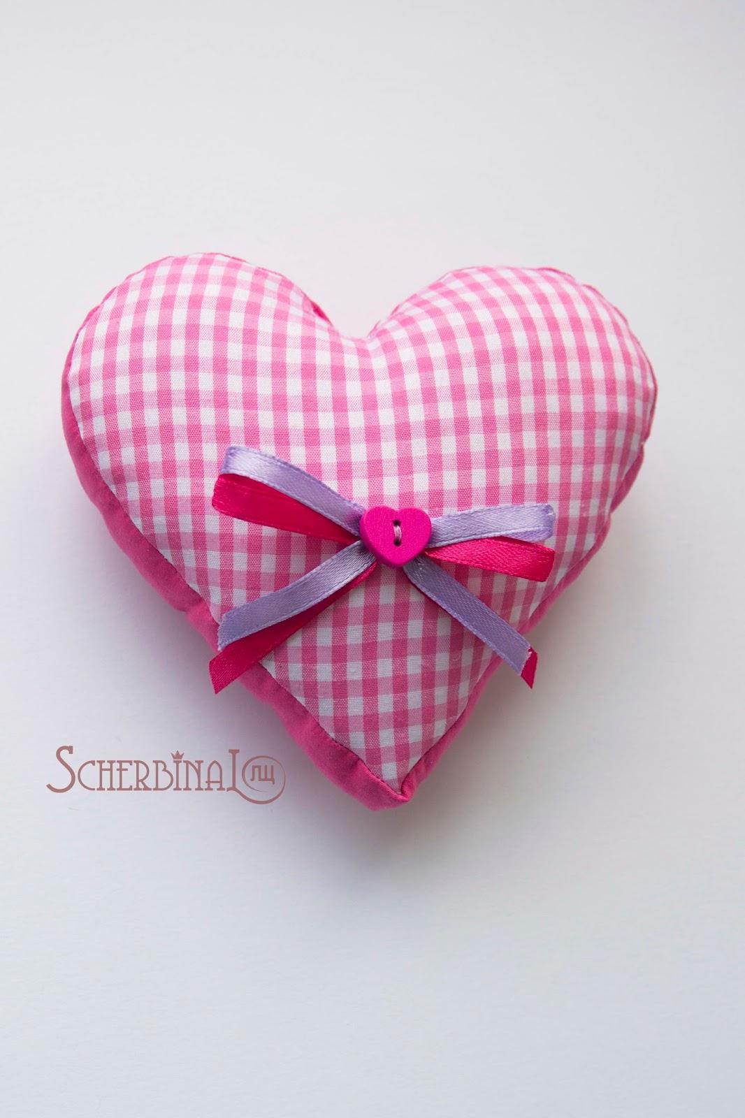 сердце, текстильная подушка