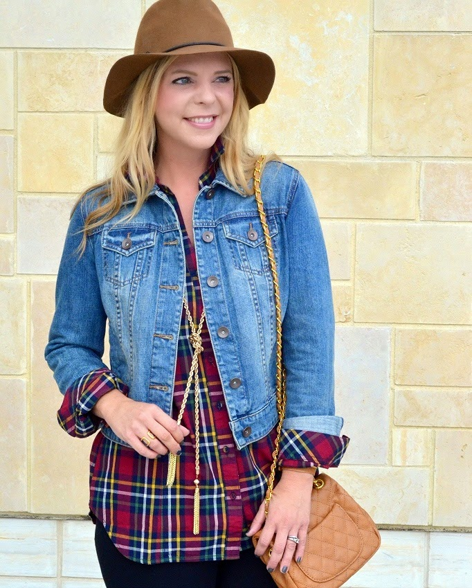 Tunic Golden Tote PLaid Top