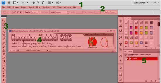 Mengenal lembaran kerja (Workspace)  Photoshop