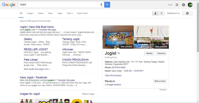 Hasil pencarian Google Maps