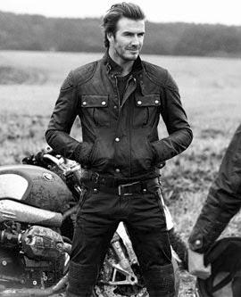 Belstaff jaqueta e calca de couro com David Beckham