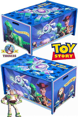 Disney film accessories Toy Story wooden childrens toy box furniture chests Woody and Buzz Lightyear