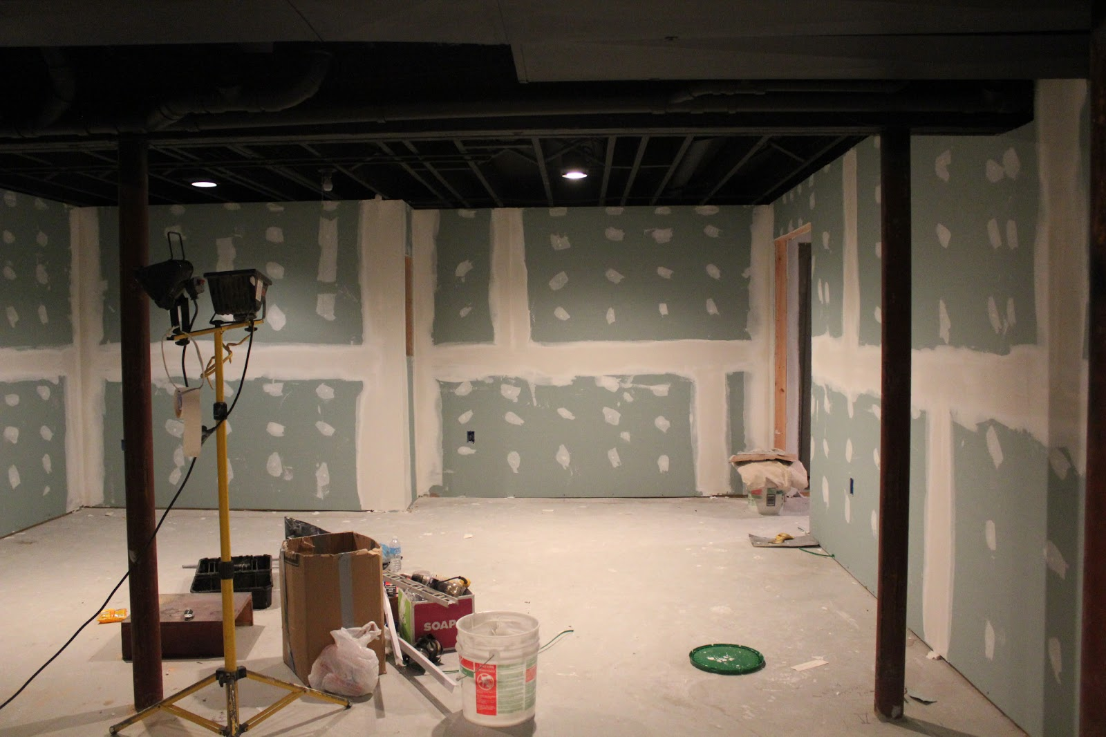 Basement remodel with painted exposed ceiling mozeypictures Images