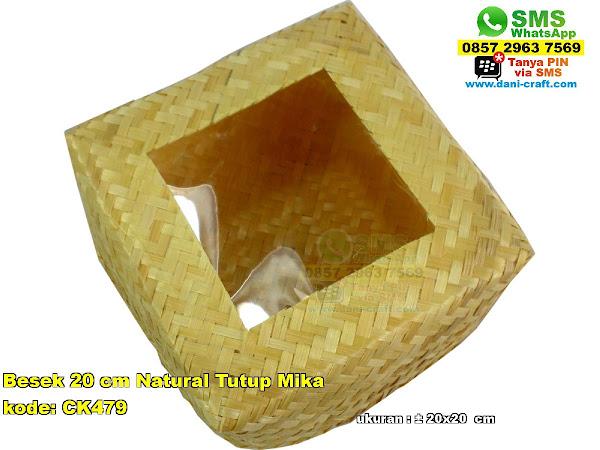 besek 20 cm natural tutup mika CK479