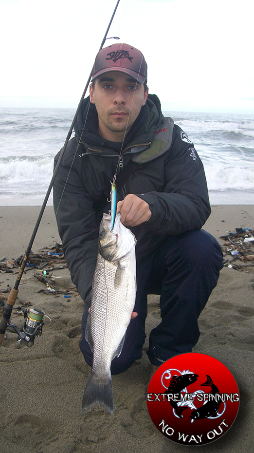 canna spinning spigola spiaggia
