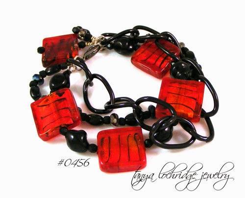 Red-Black Lampwork Bead Bracelet