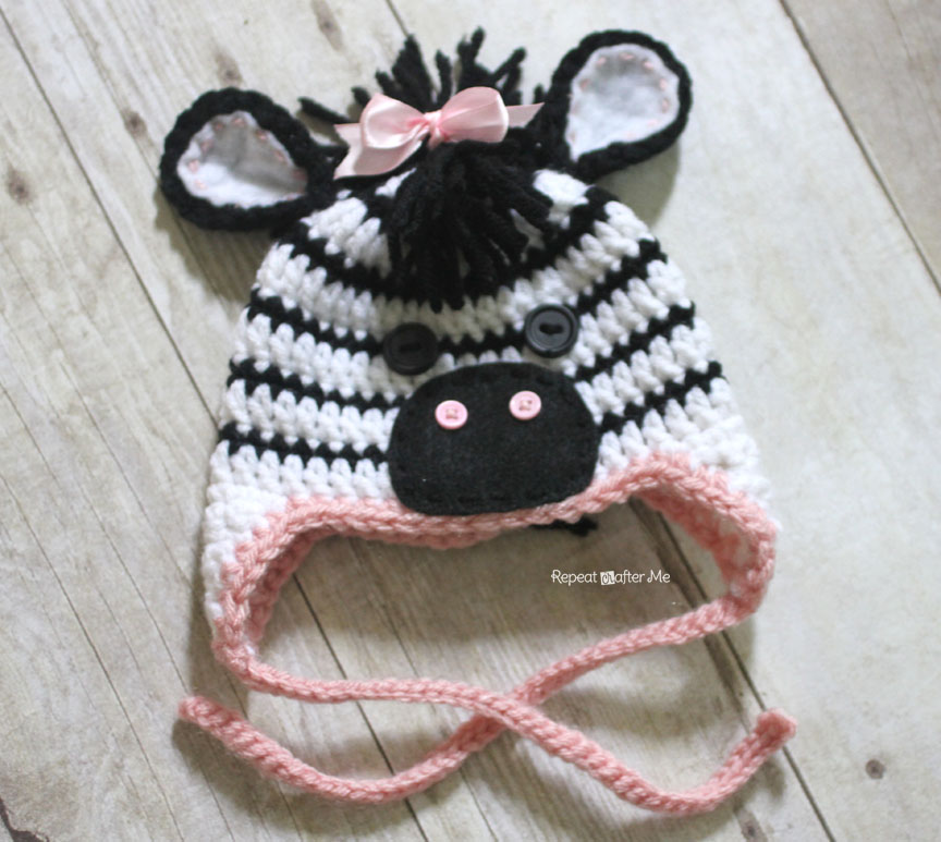Free Crochet Zebra Patterns : Crochet Zebra Hat Pattern - Repeat Crafter Me