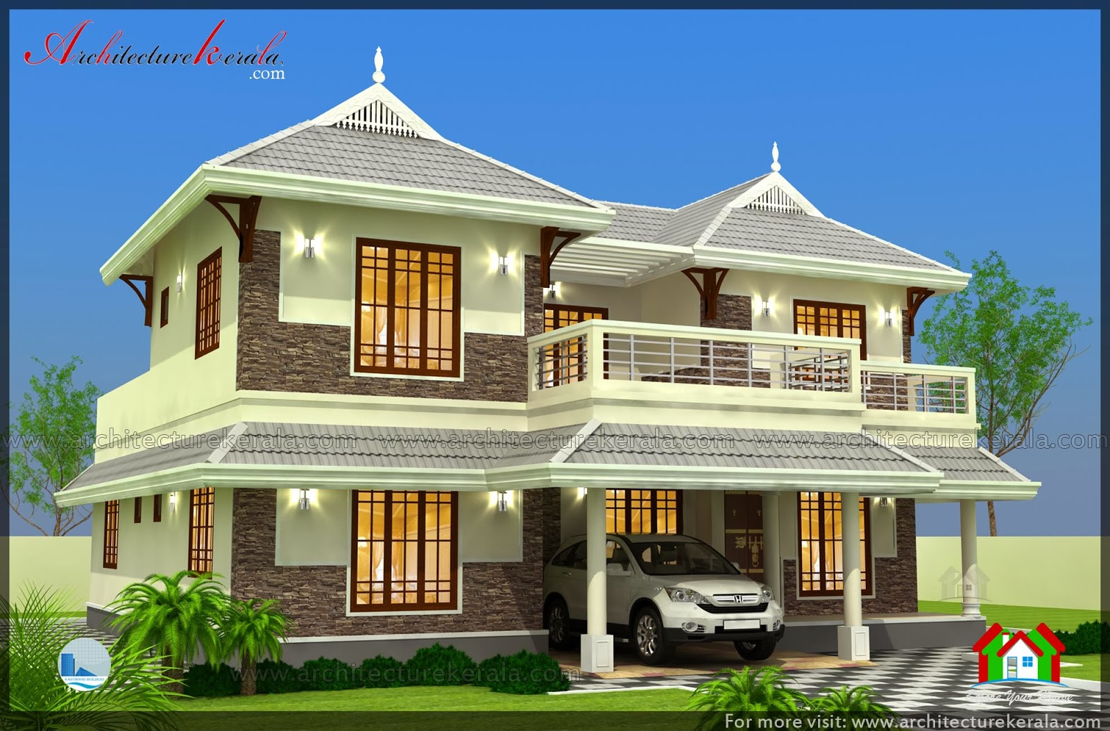 2500 sq ft 3 bedroom house plan with pooja room for Www kerala home plans