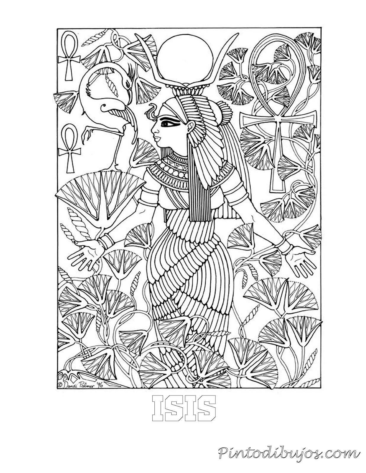 Isis Diosa egipcia para colorear | Isis Diosa egipcia para colorear