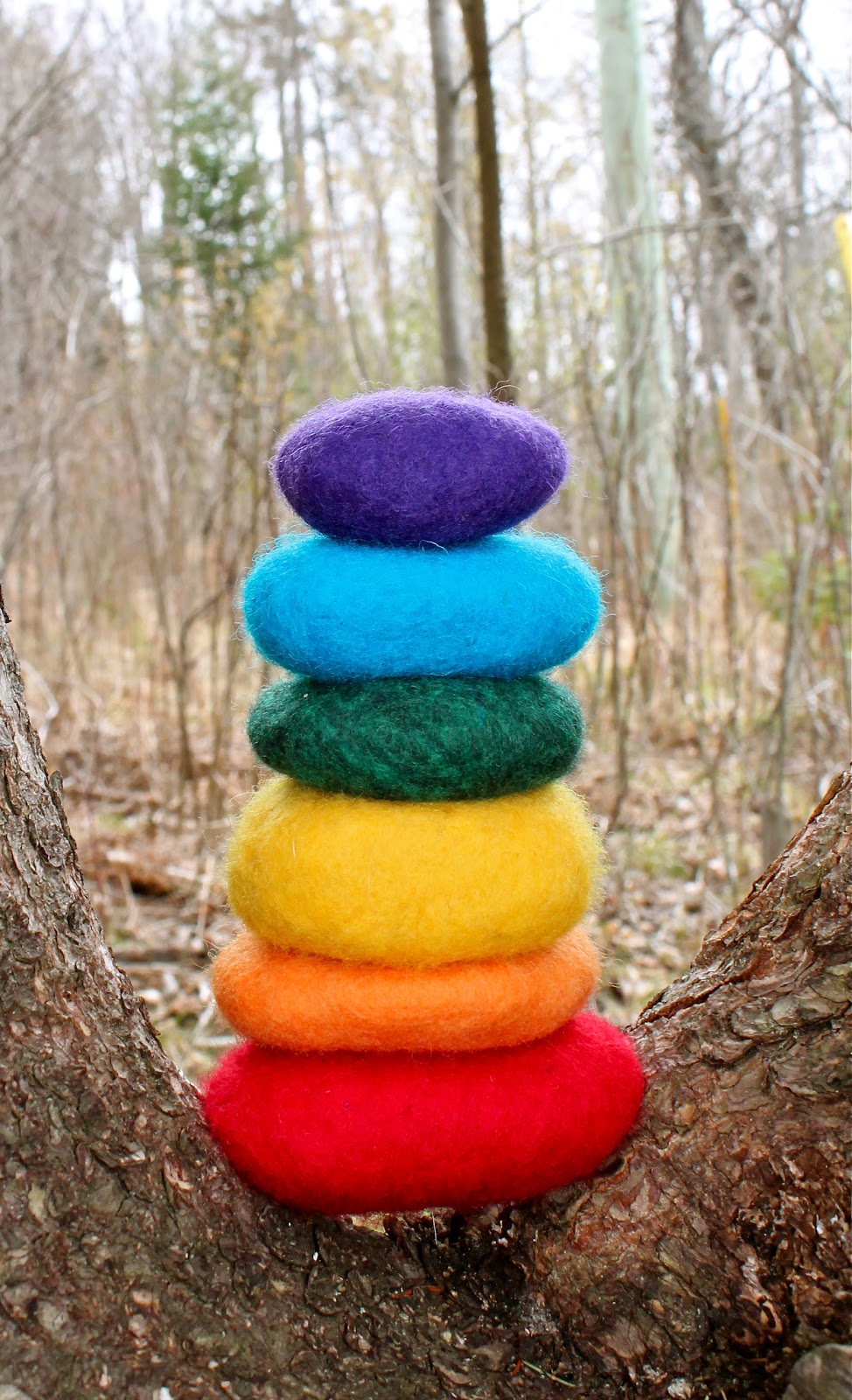 Twig and toadstool felted rainbow rocks for Felted wool boulders