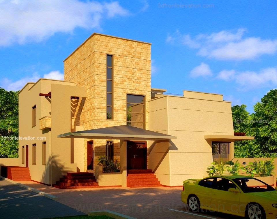 3d front beautiful modern house design for Garden designs in pakistan