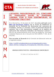 LISTADOS PROVISIONALES DEL CONCURSO DE TRASLADOS ENTRE EL PERSONAL LABORAL FIJO O FIJO DISCONTINUO,