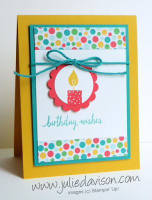 Stampin' Up! Build a Birthday Candle Circle Card #stampinup www.juliedavison.com