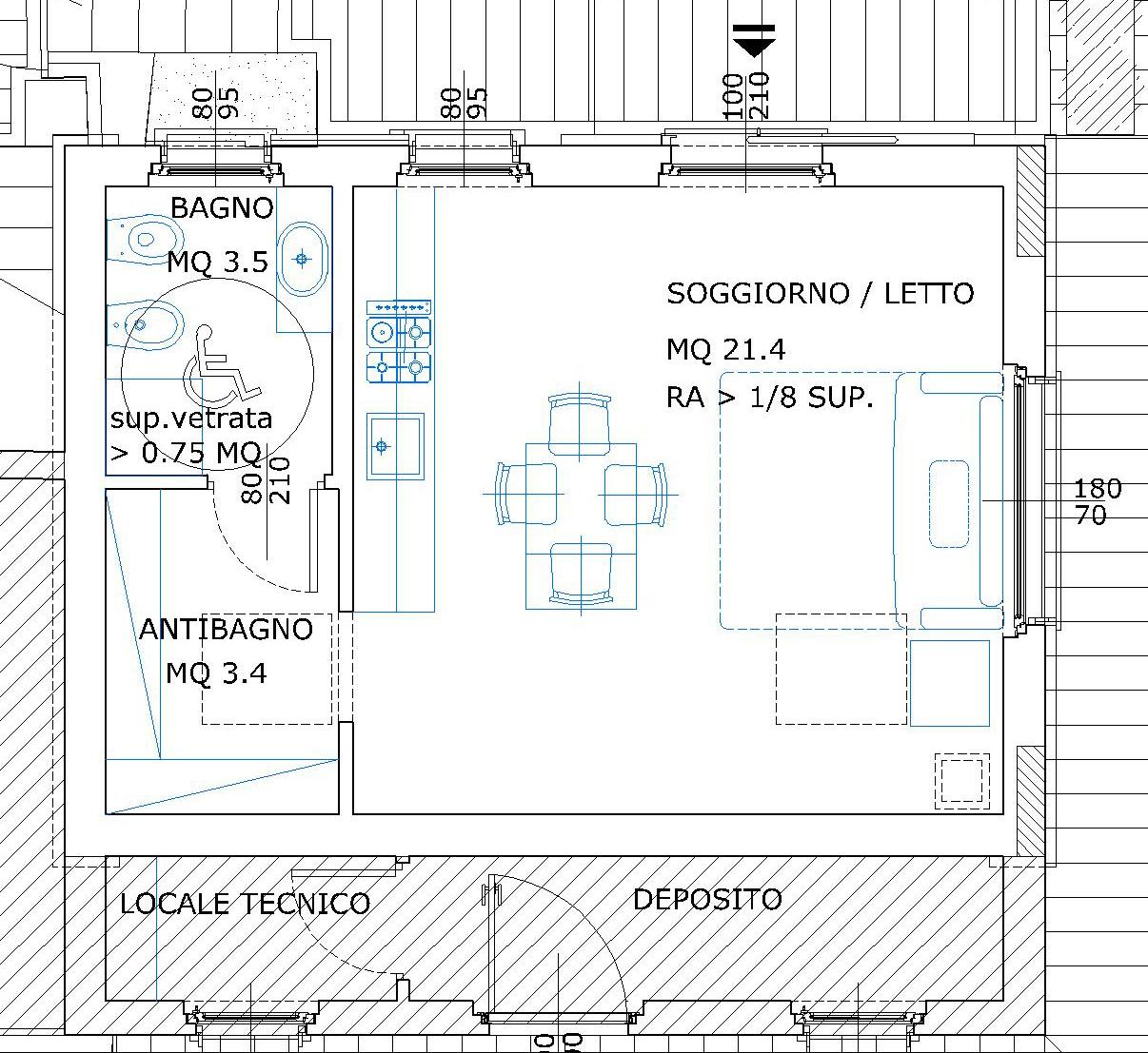 Dimensioni minime camera bagno handicap dimensioni misure for Monolocale dwg