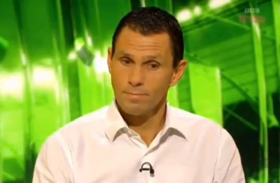 Gus Poyet reacts after being told by the BBC that he had been sacked by Brighton