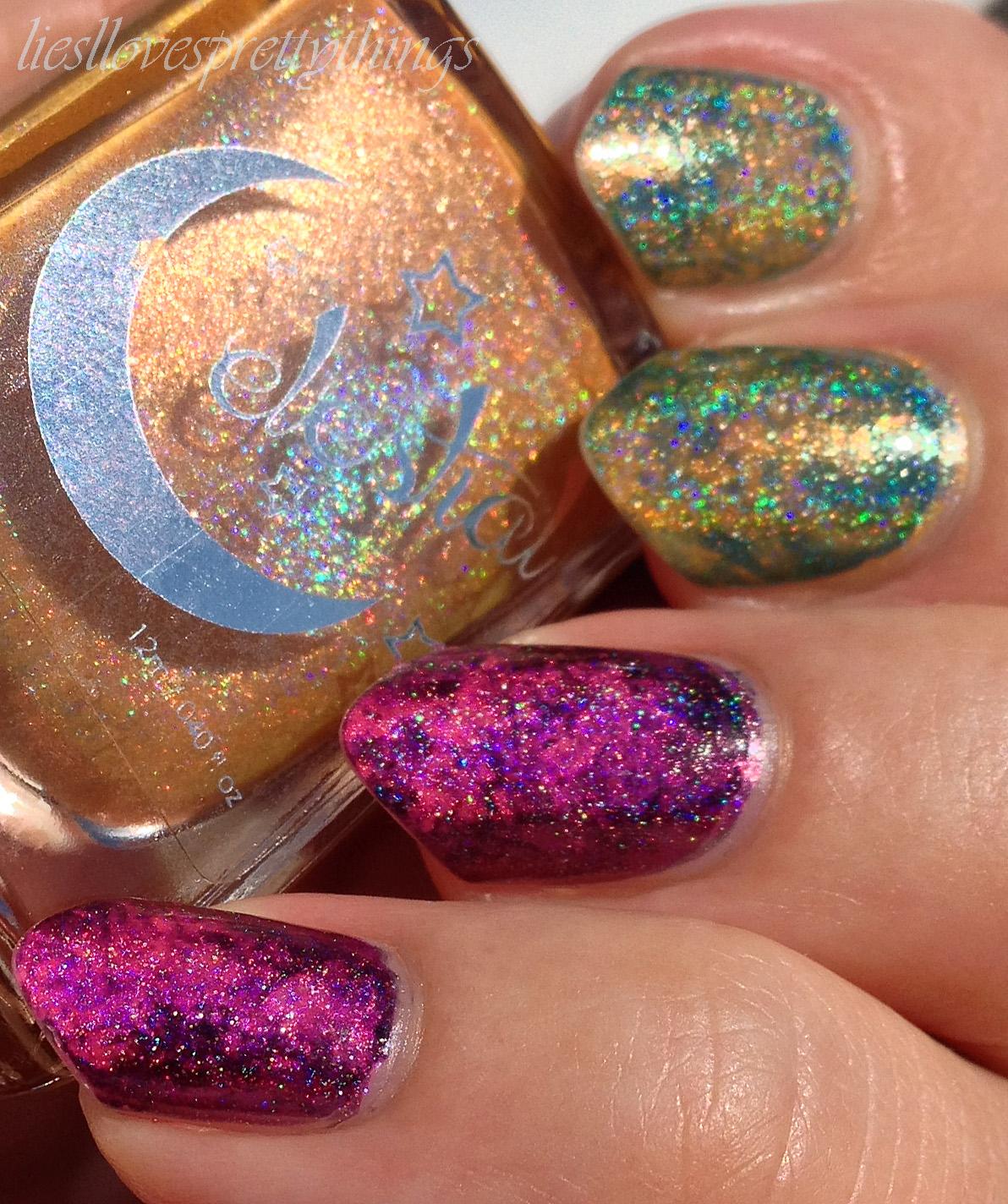 Celestial Cosmetics holo saran wrap manicure