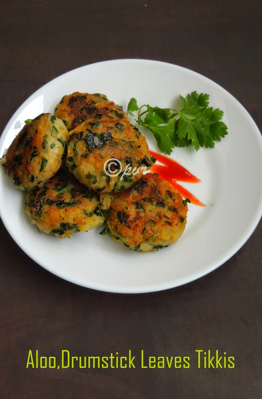 Aloo tikkis with greens, drumstick leaves aloo cutlets