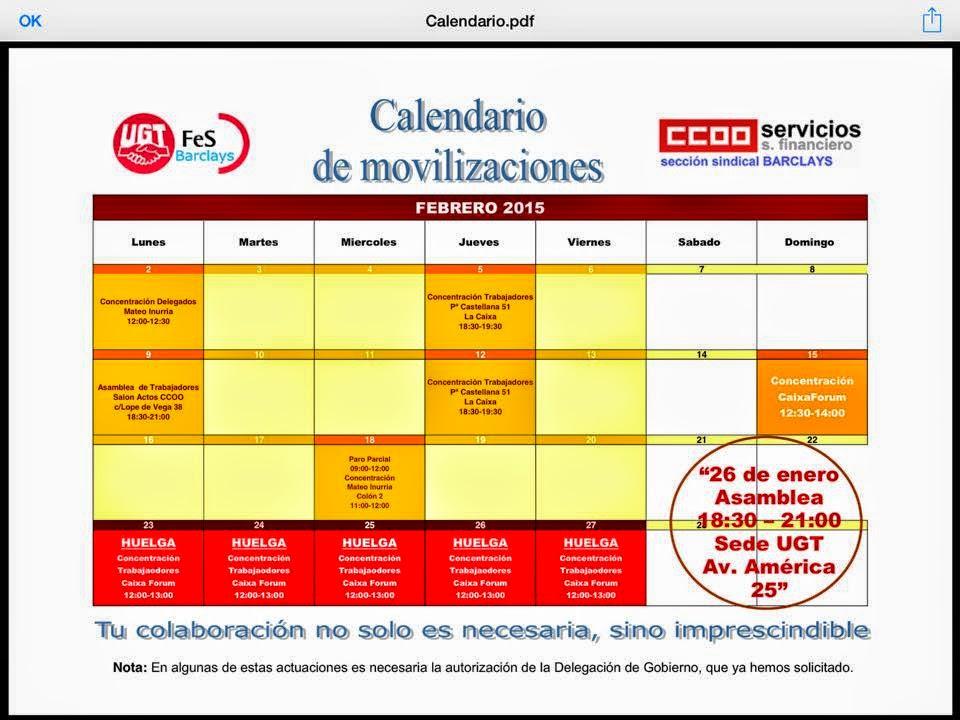 Calendario de movilizaciones ere barclays caixabank la for Localizador de oficinas la caixa