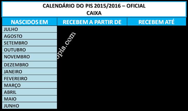 Calendario do PIS 2015/2016 Oficial
