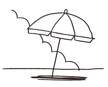 ビーチパラソルのイラスト「砂浜と入道雲」 線画