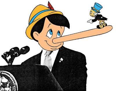 pinnochio lying with nose stretching in a presedential suit