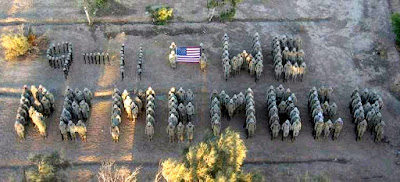 photograph of soldiers in a line up that spells: 9-11 We Remember.