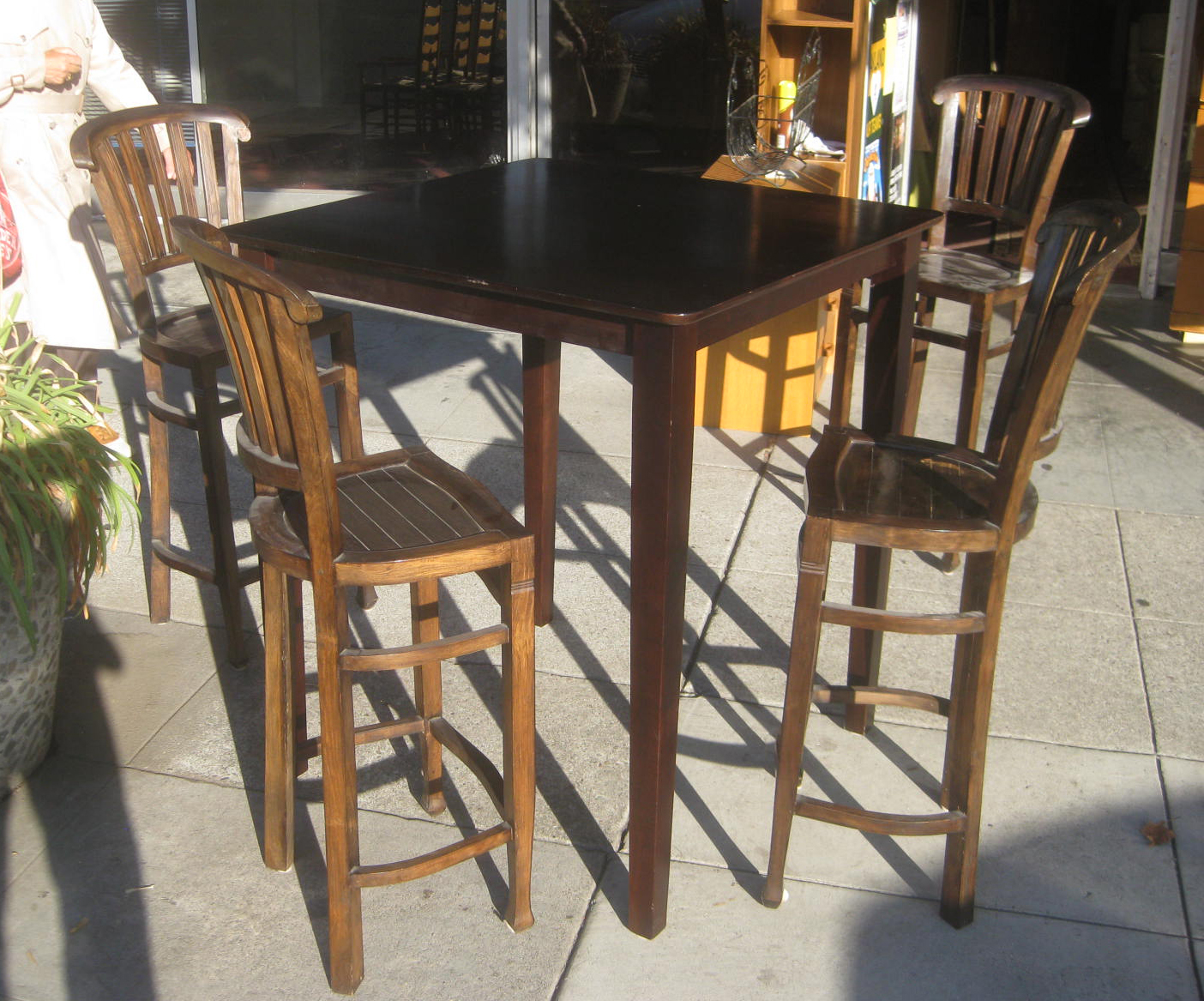 SOLD   Tall Bar Table And Four Stools   $200