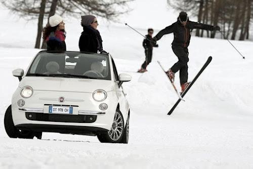 Fiat 500C Skiing