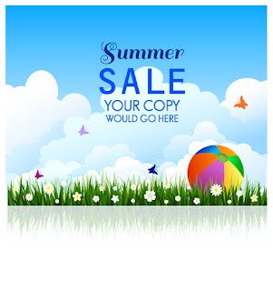 青空と夏の草原の背景 Summer sale background イラスト素材