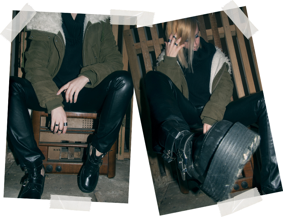 For Peet's Sake blog leather pants cut out boots green parka