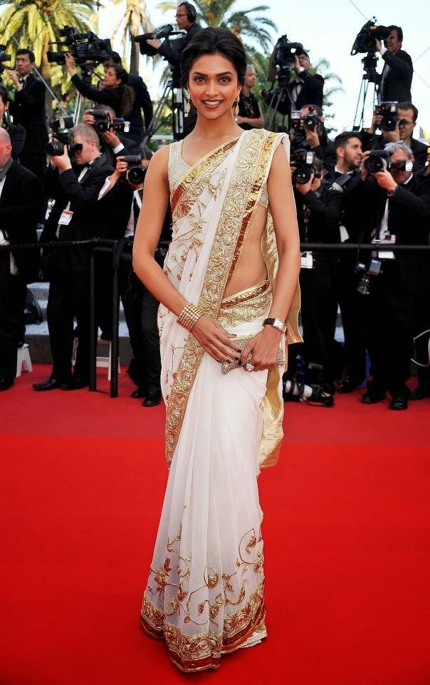 Deepika Padukone in White Golden Saree Looks awesome