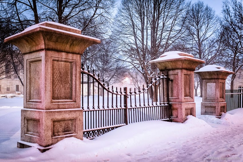 February 2015 Portland Maine Snow at night Lincoln Park Gate fence photo by Corey Templeton.