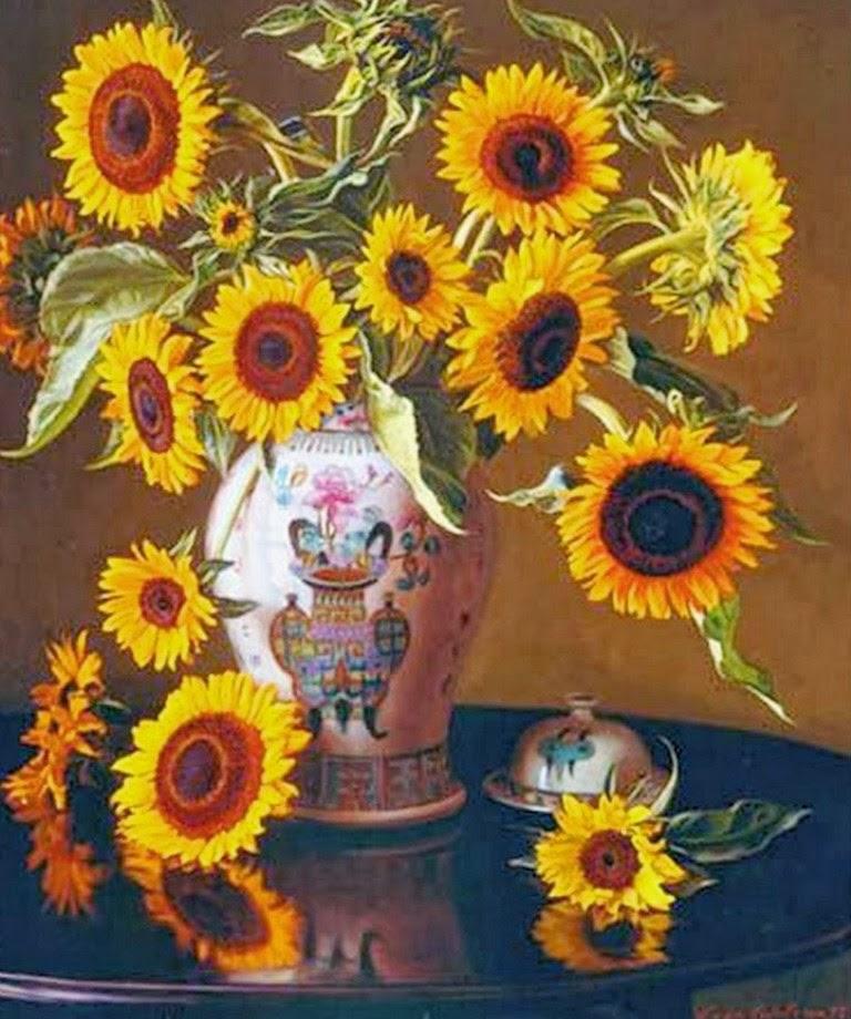 pinturas-bodegones-con-girasoles