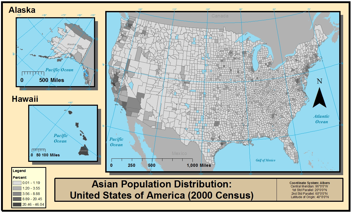 high populations are also centered on the east coast of the united states with strong concentrations in alaska and hawaii