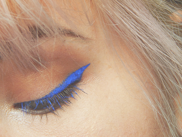 Close up of bright blue winged eyeliner