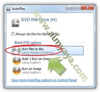 Gambar: Memilih opsi burning ke CD/DVD