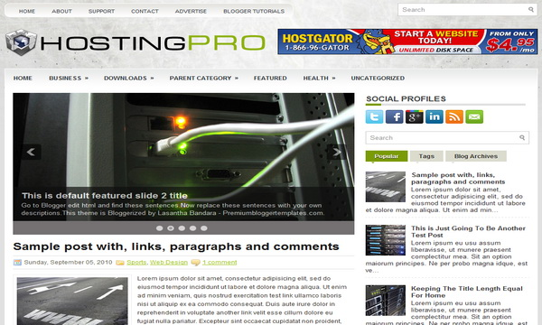 HostingPro 2 Column Blogger Template