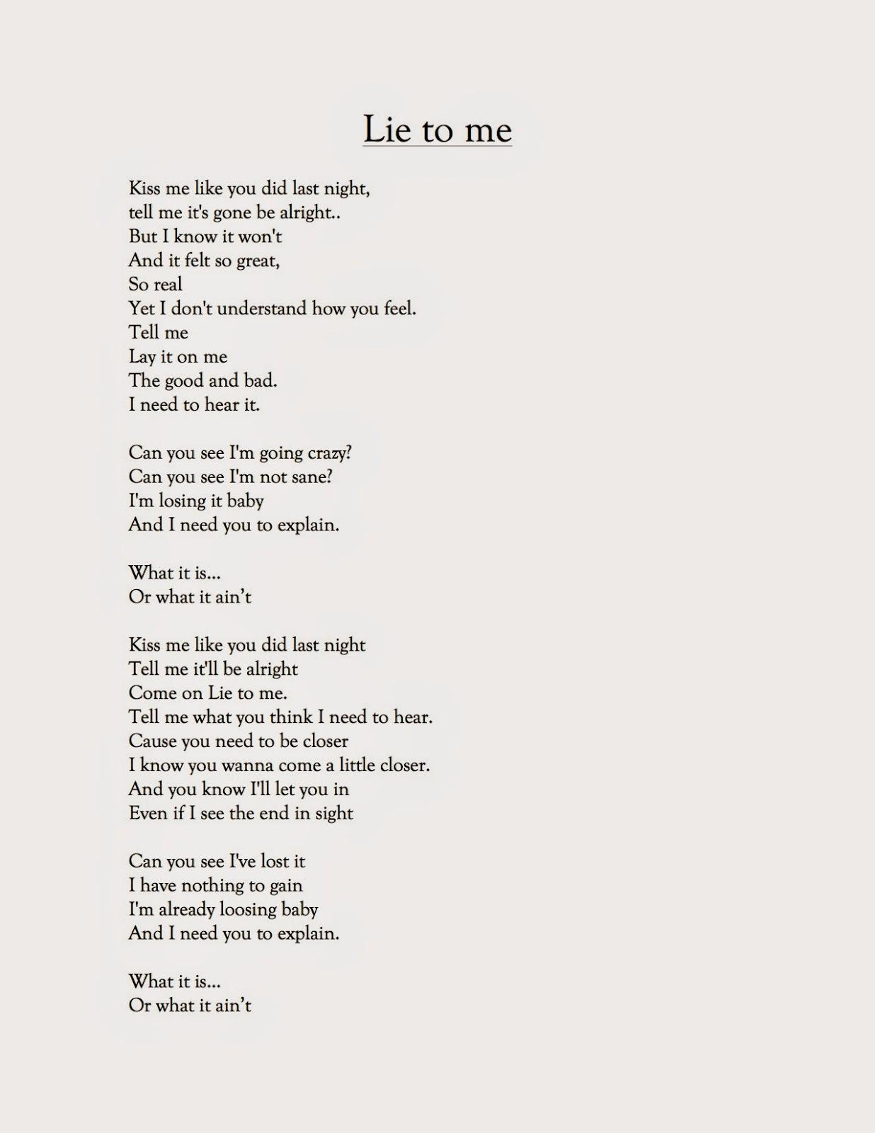 Lie to me lyrics