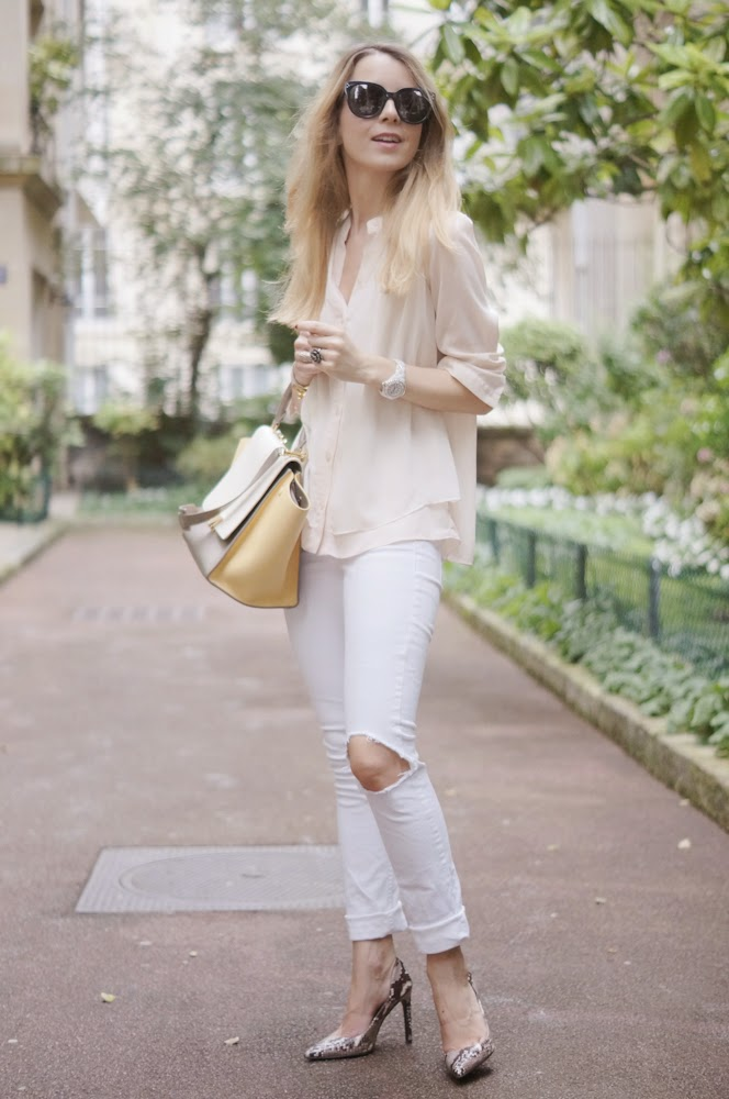 topshop, céline, zara, powder pink, ripped jeans, silk shirt, outfit, look du jour, neutrals, fashion blogger, streetstyle