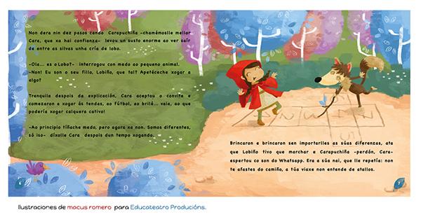 Ilustracion infantil caperucita roja cuento