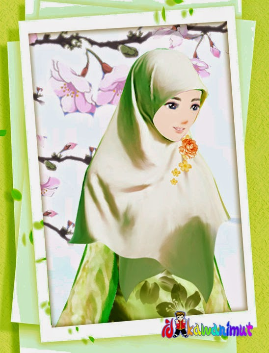 Gambar Kartun Wanita Muslimah Berhijab Cantik