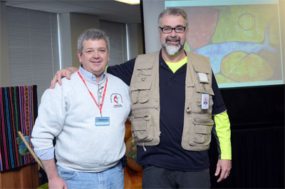 At the close of the Global Ministries board of directors meeting in April, Hazelwood, right, greeted Greg Forrester, who assumes leadership of UMCOR's US Disaster Response program on May 1. After the meeting, Hazelwood led the directors in a day of service with Hurricane Sandy survivors.