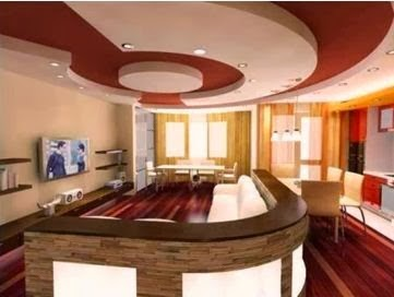 10 red gypsum false ceiling design for living room 2015 for Living room false ceiling designs images