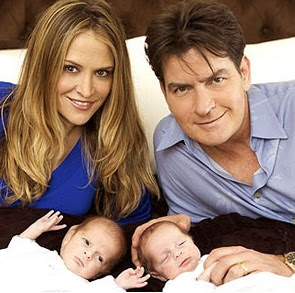 Charlie Sheen with Brooke Mueller and Twins