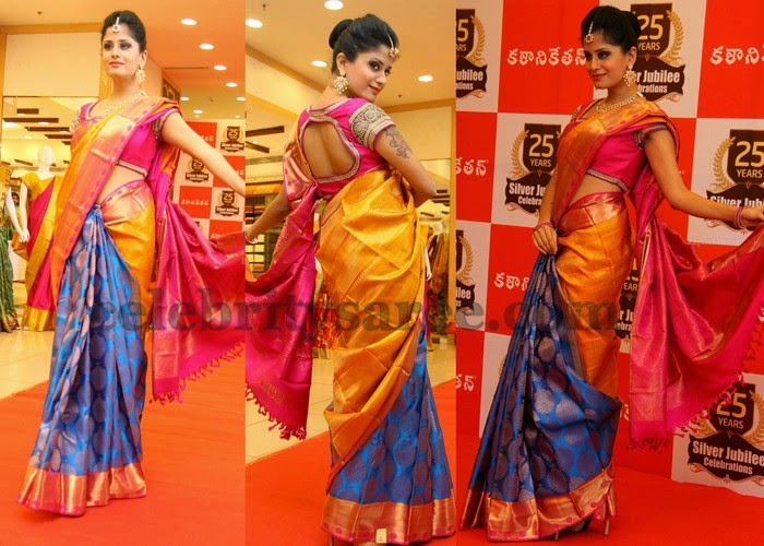 Anukruthi Mustard Blue Silk Saree