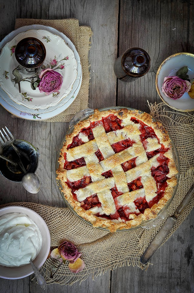 Heart of Gold: Strawberry Rhubarb Pie with Rose Scented Whipped Cream