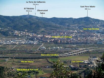 Panoràmica del Baix Llobregat amb la Serra de Collserola i Sant Pere Màrtir al fons